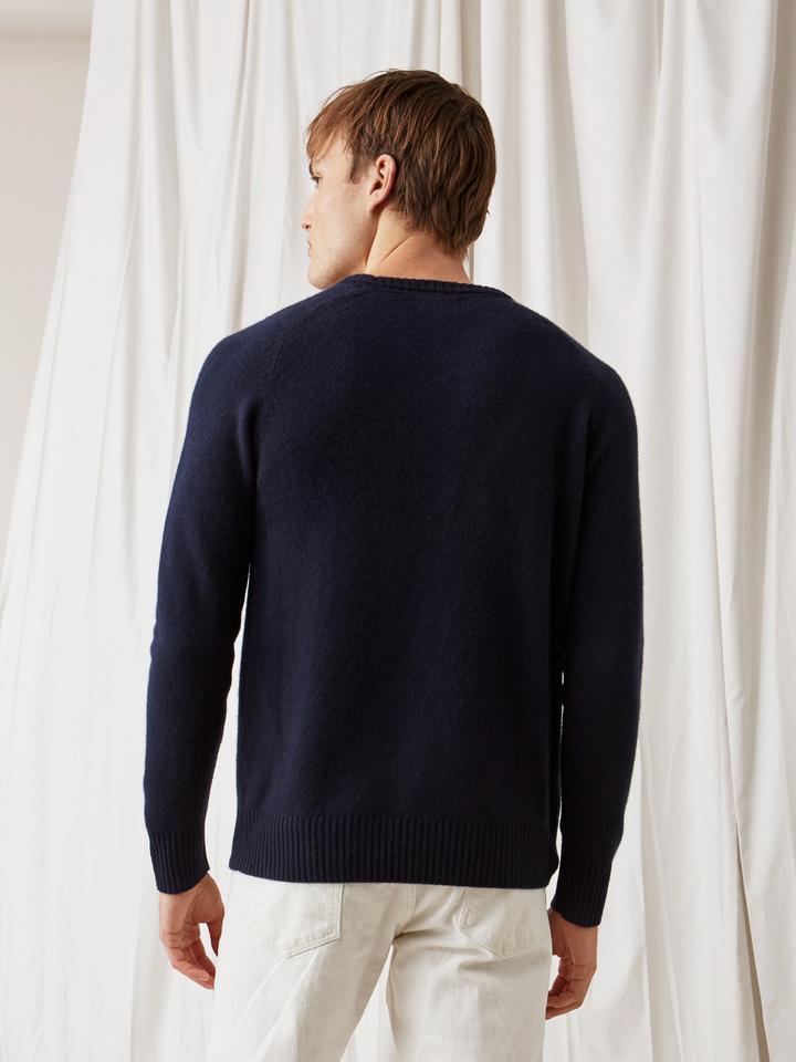 Soft Goat Men's Saddle Neck Navy