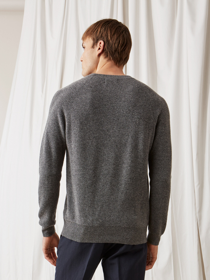 Soft Goat Men's Sweater With Buttons Dark Grey