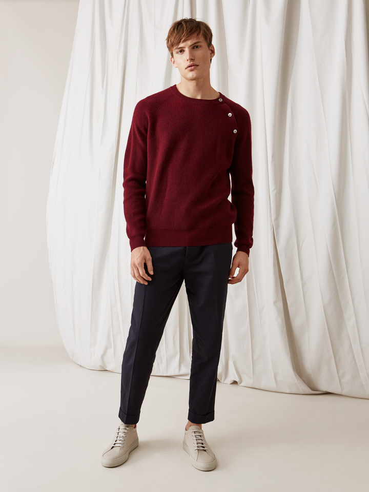 Soft Goat Men's Sweater With Buttons Burgundy