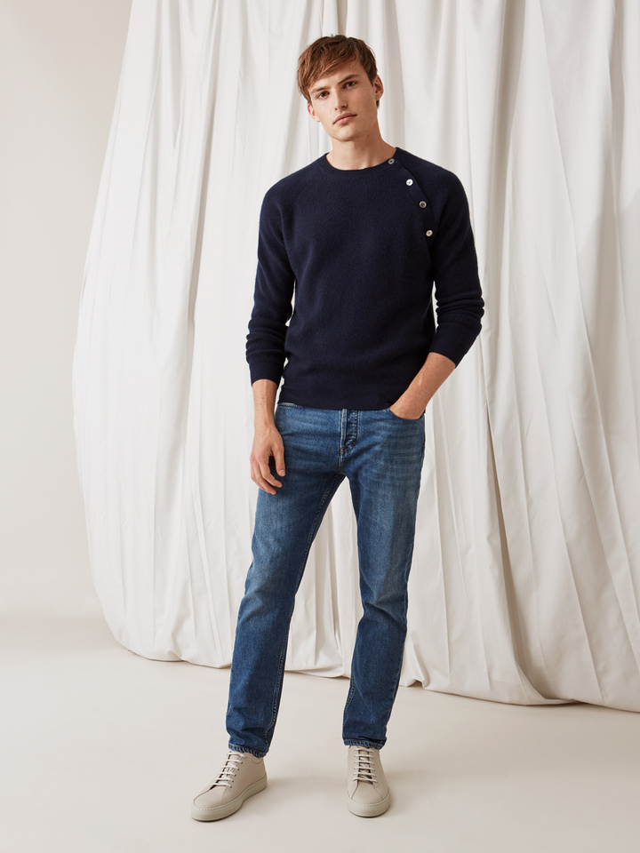 Soft Goat Men's Sweater With Buttons Navy