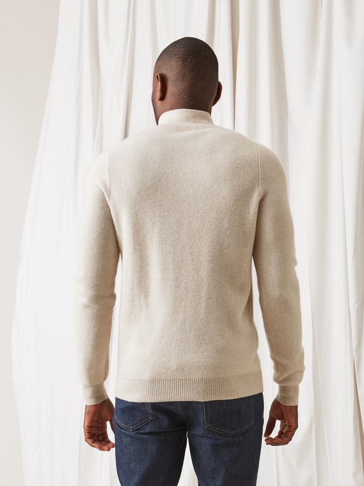 Soft Goat Men's Waffle Knit Cardigan Beige