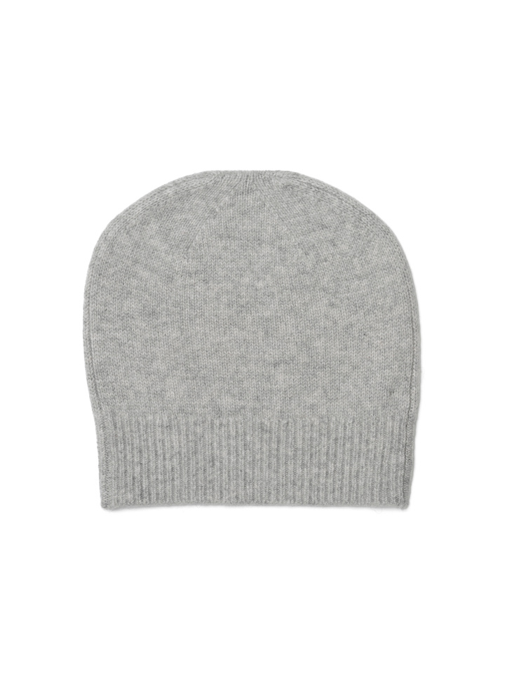 Soft Goat Plain Beanie Light Grey