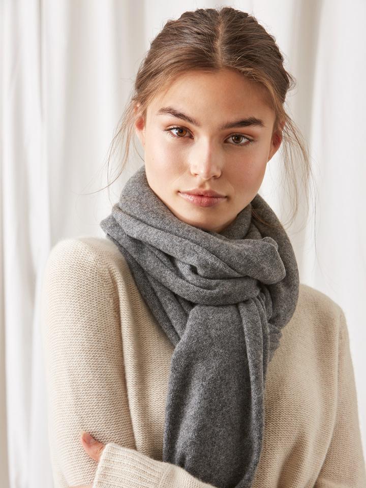 Soft Goat Plain Knitted Scarf Dark Grey