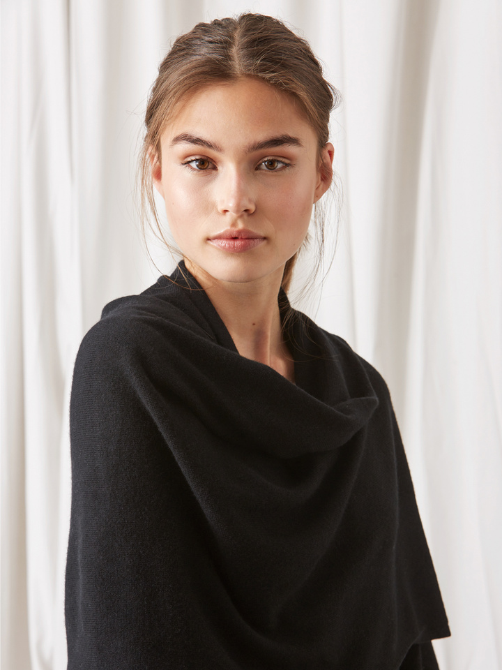 Soft Goat Plain Knitted Scarf Black