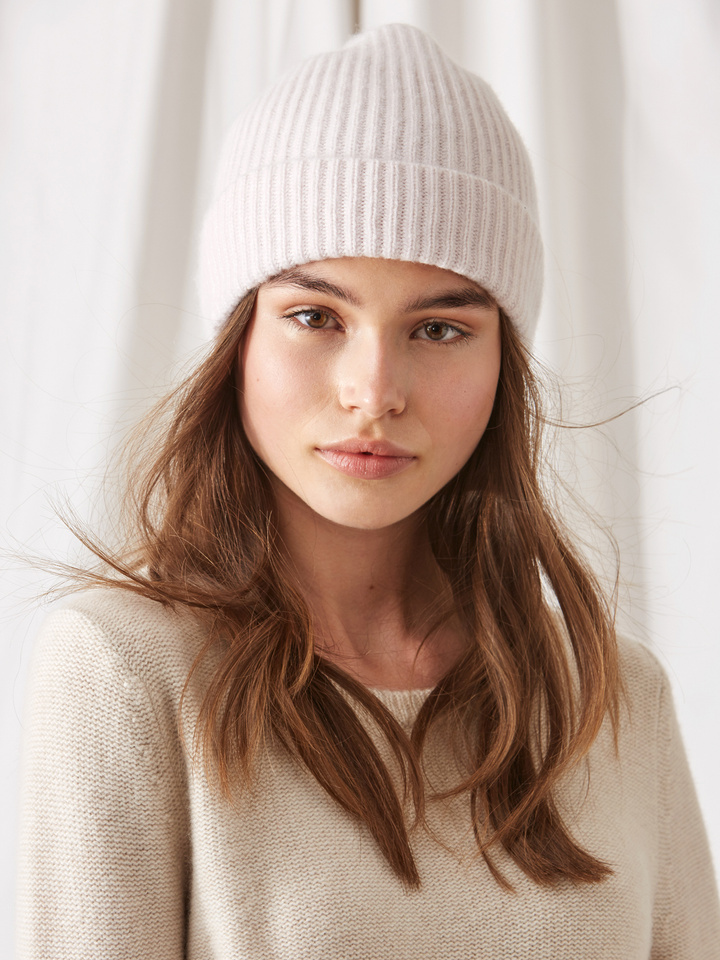 Soft Goat Ribbed Beanie Marshmallow