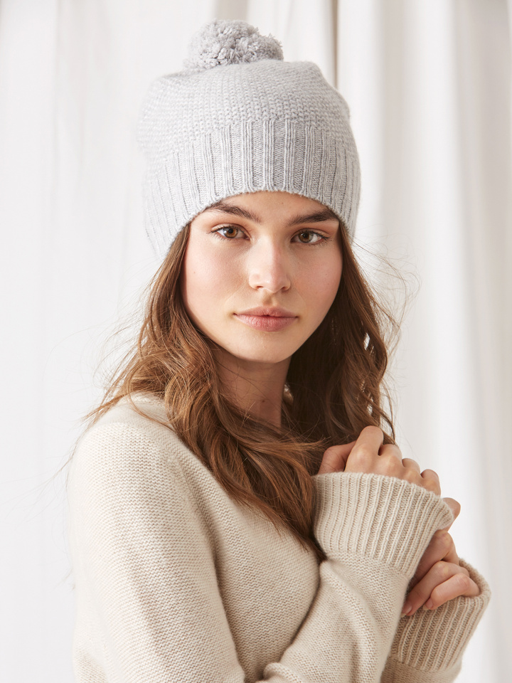 Soft Goat Waffle Knit Beanie Light Grey