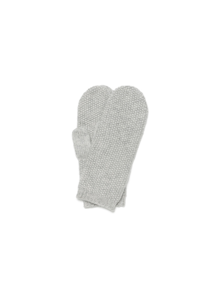 Soft Goat Waffle Knit Mittens Light Grey