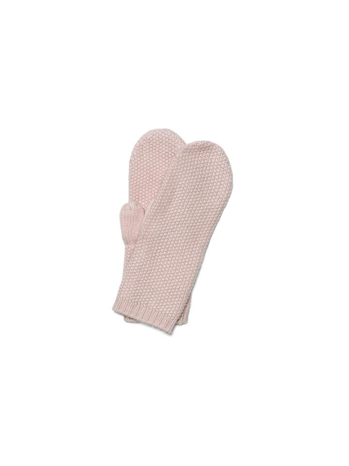 Soft Goat Waffle Knit Mittens Powder Pink