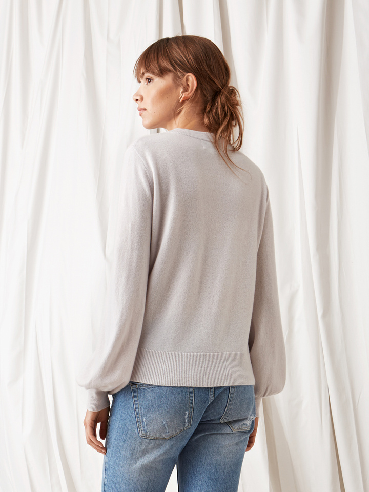 Soft Goat Balloon Arm Sweater Silver Grey
