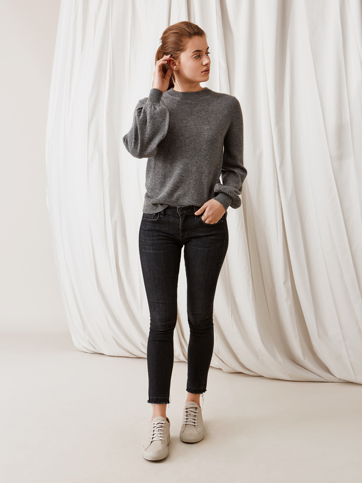 Soft Goat Balloon Arm Sweater Dark Grey