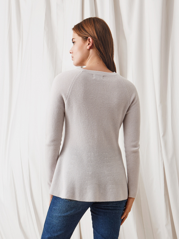 Soft Goat Bell Bottom Sweater Silver Grey