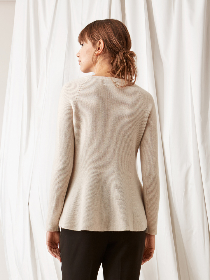 Soft Goat Bell Bottom Sweater Beige