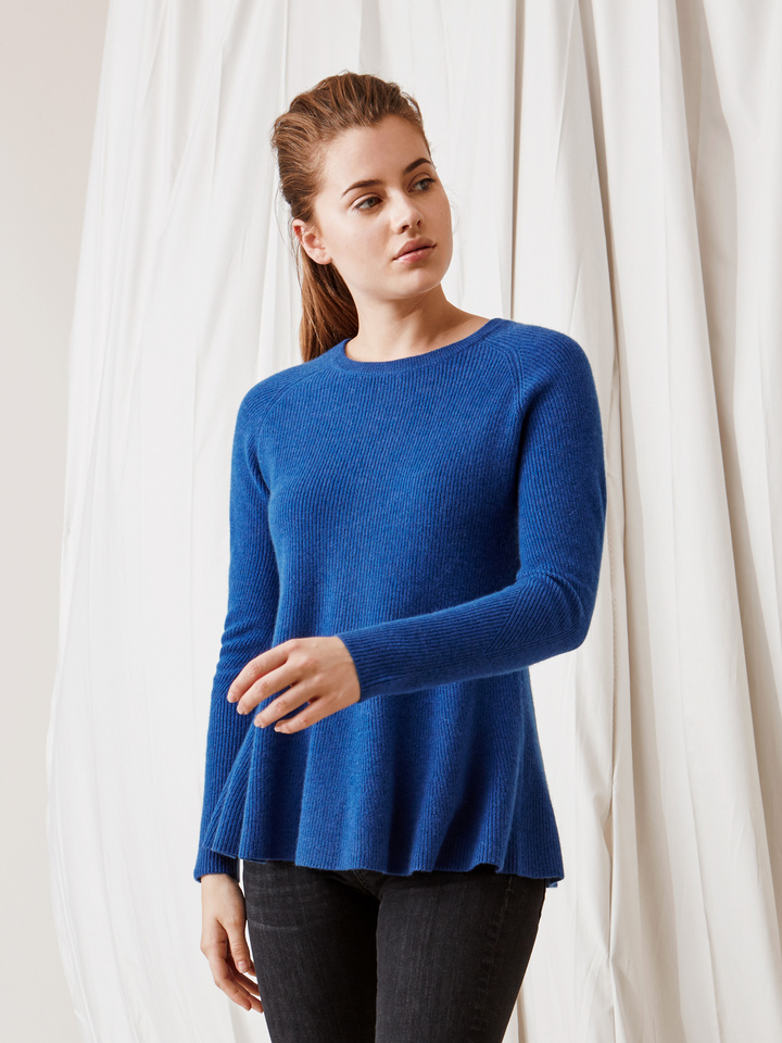Soft Goat Bell Bottom Sweater Royal Blue
