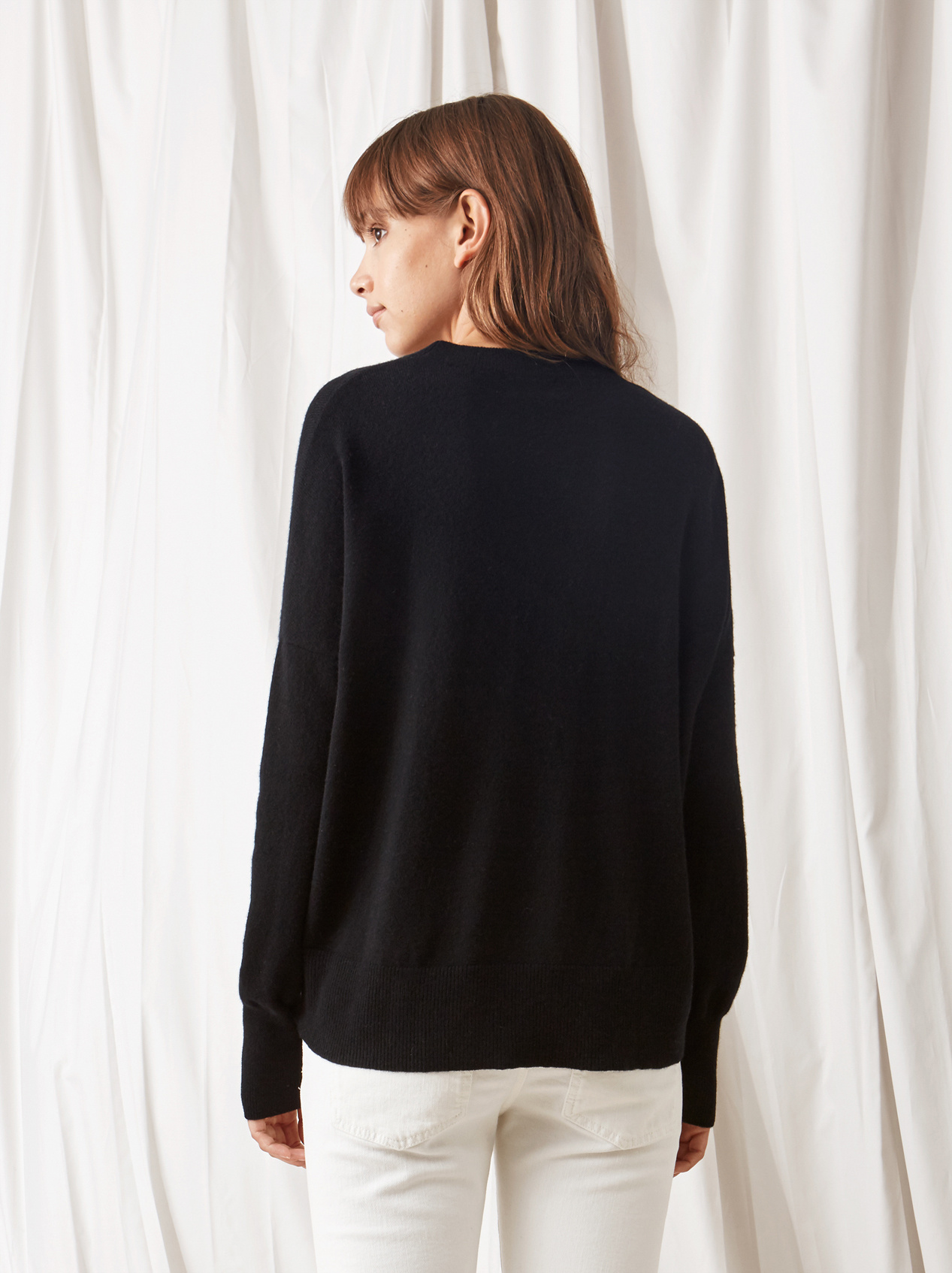 Soft Goat Boyfriend Sweater Black