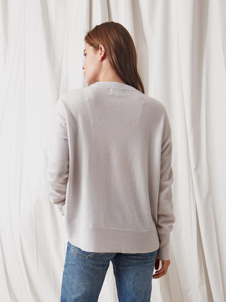 Soft Goat Boyfriend Sweater Silver Grey