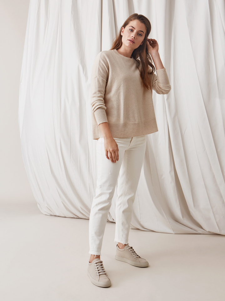 Soft Goat Boyfriend Sweater Beige