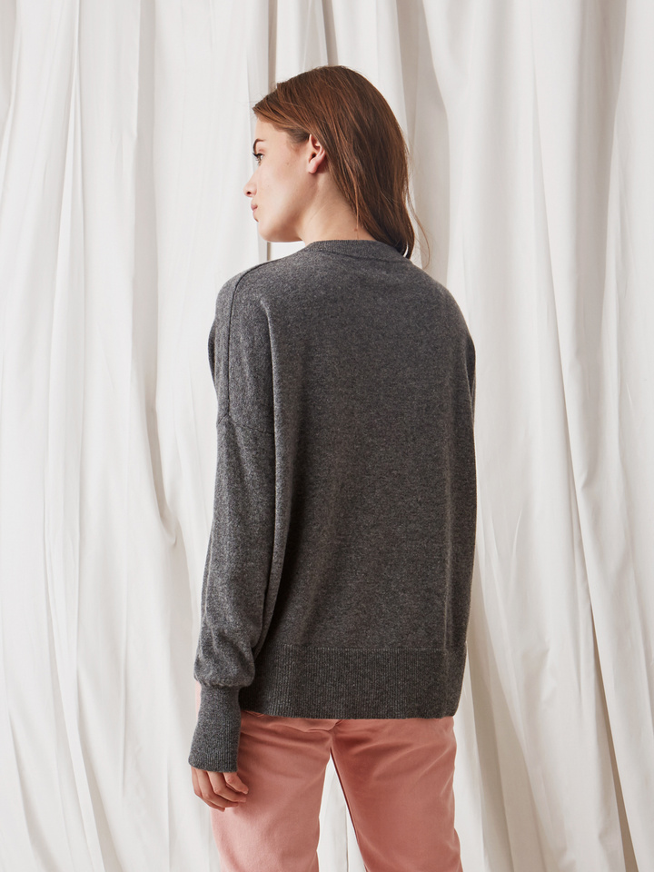 Soft Goat Boyfriend Sweater Dark Grey