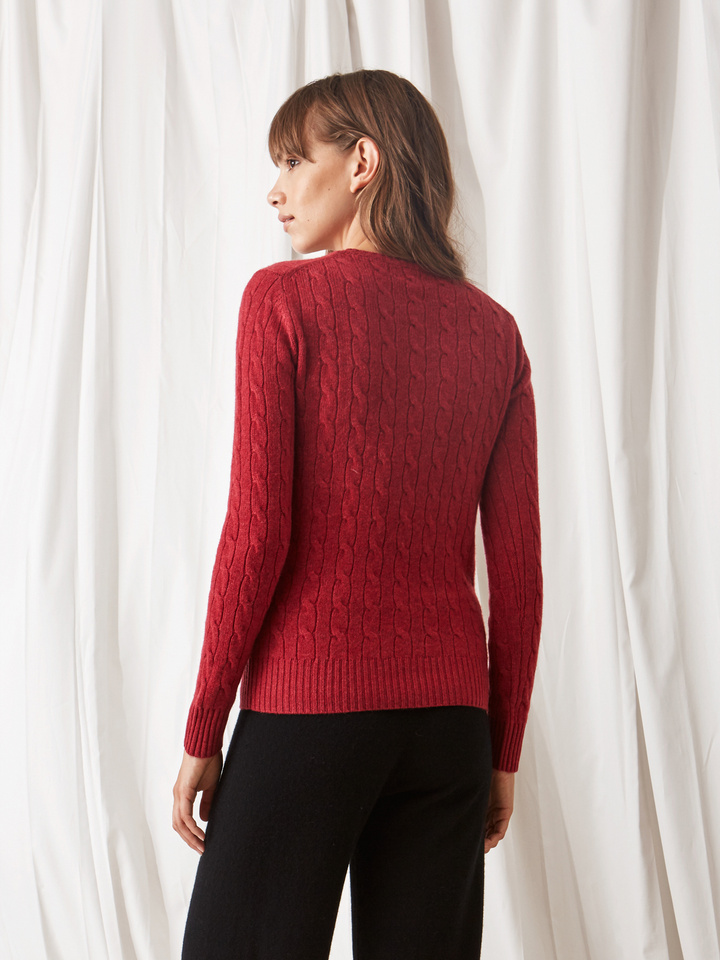 Soft Goat Cable Knit Pomegranate