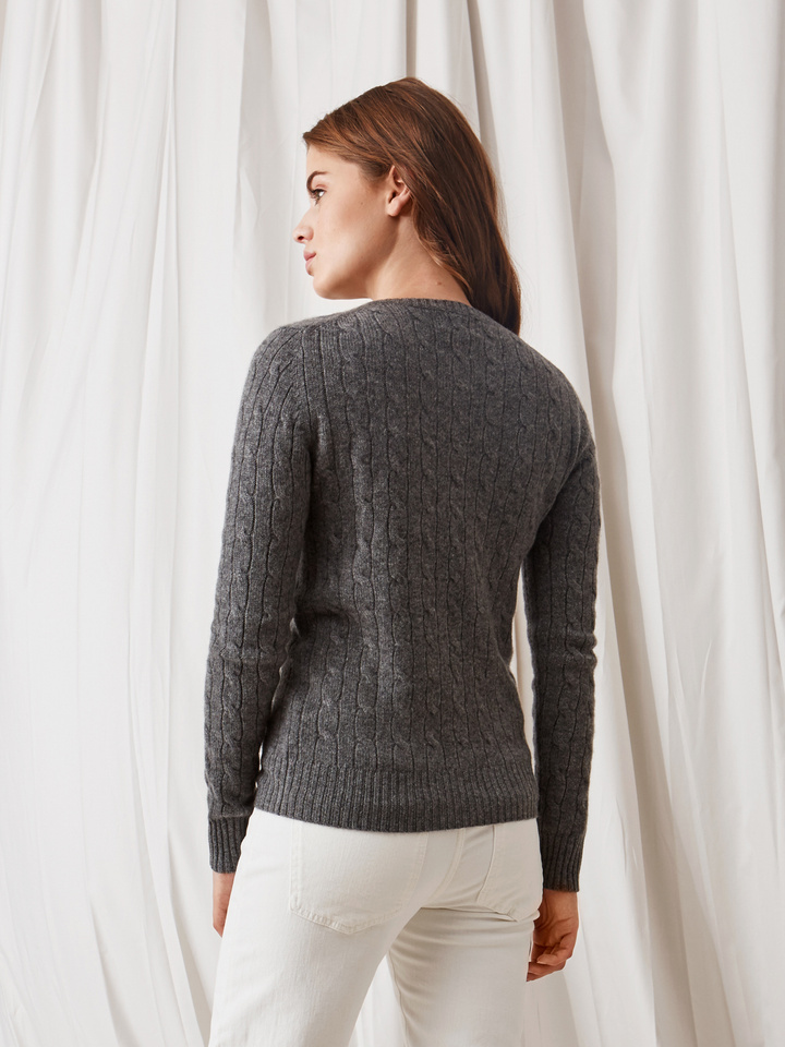 Soft Goat Cable Knit Dark Grey