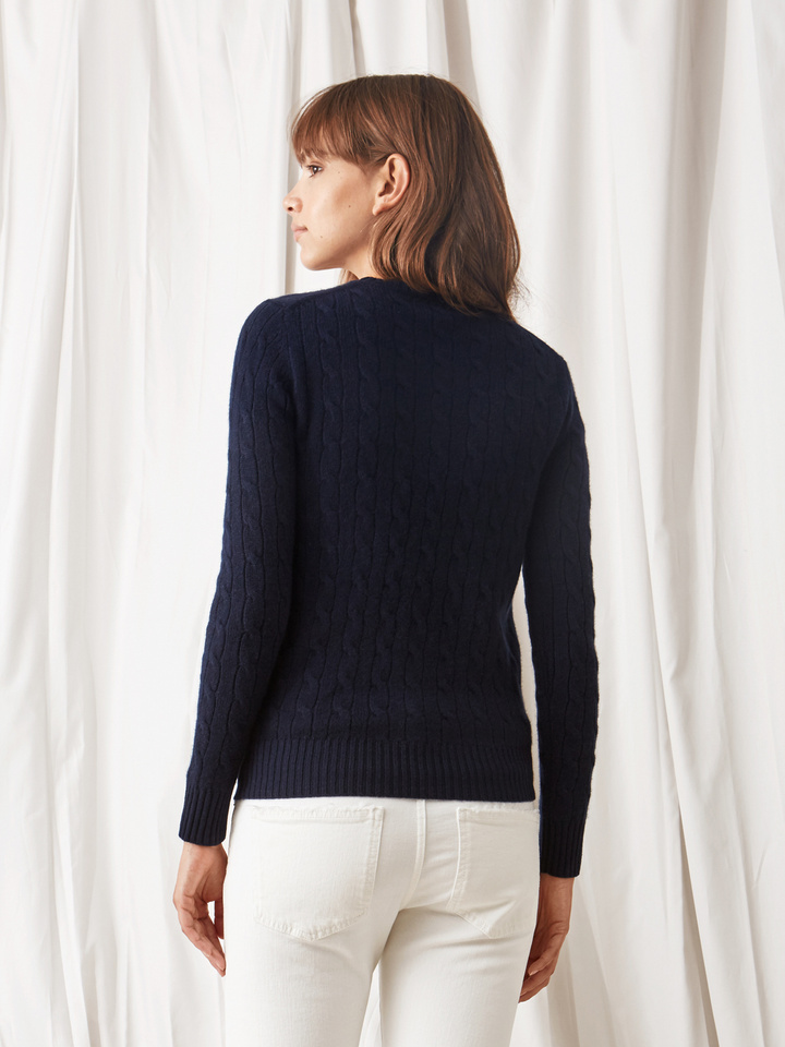 Soft Goat Cable Knit Navy