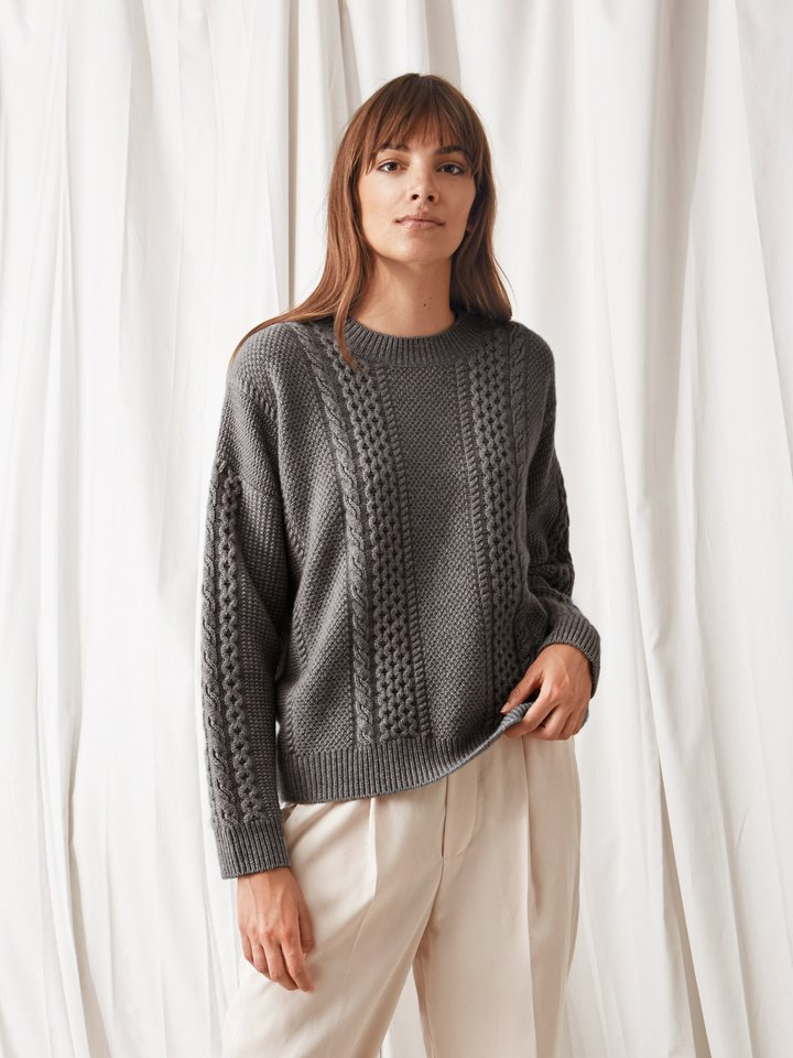 Soft Goat Women's Chunky Cable Knit Dark Grey