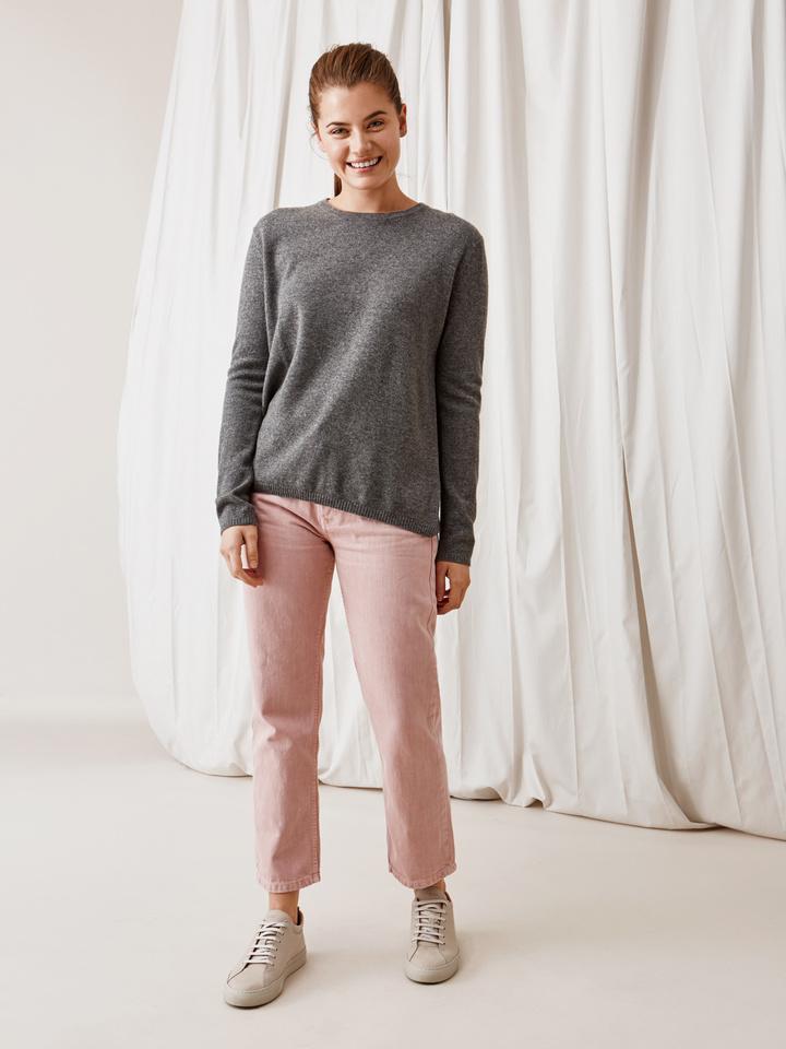 Soft Goat Crossed Back Sweater Dark Grey