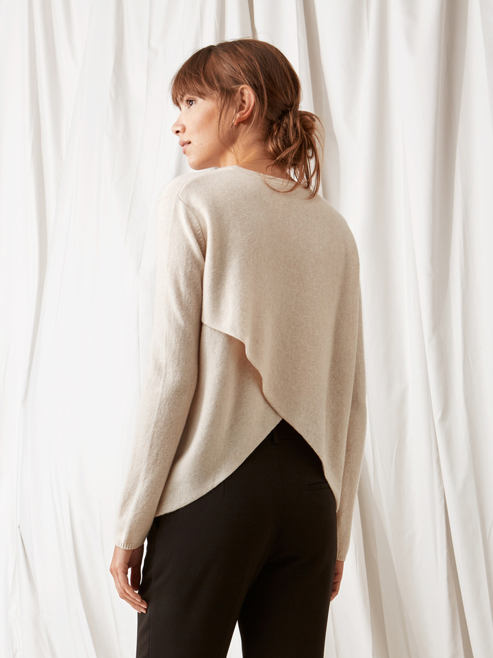 Soft Goat Crossed Back Sweater Beige