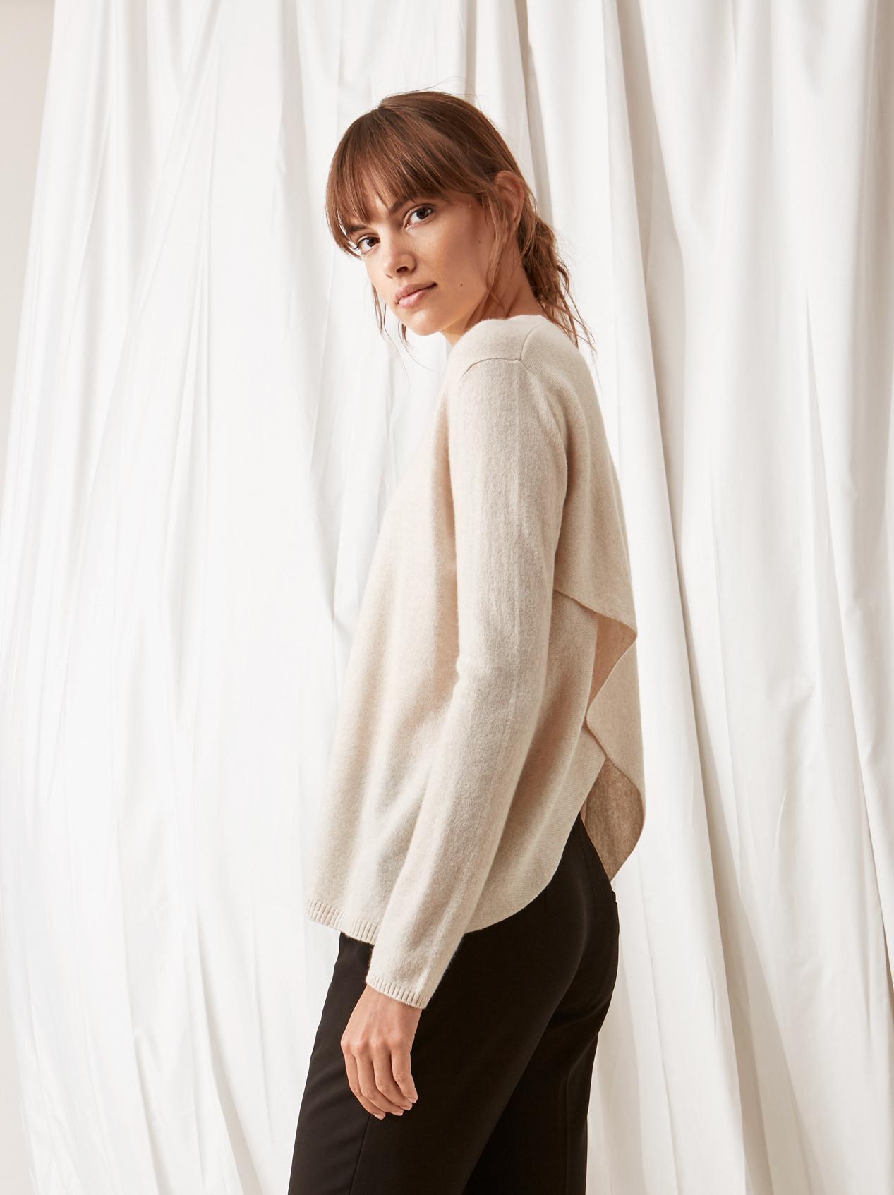 Soft Goat Crossed Back Sweater Beige