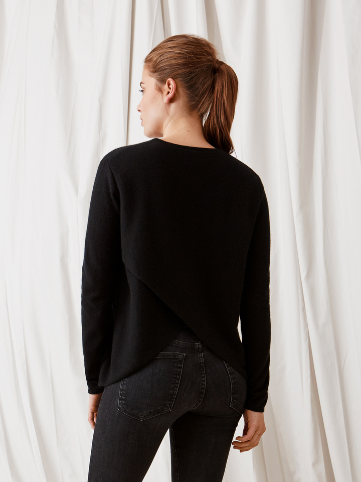 Soft Goat Crossed Back Sweater Black