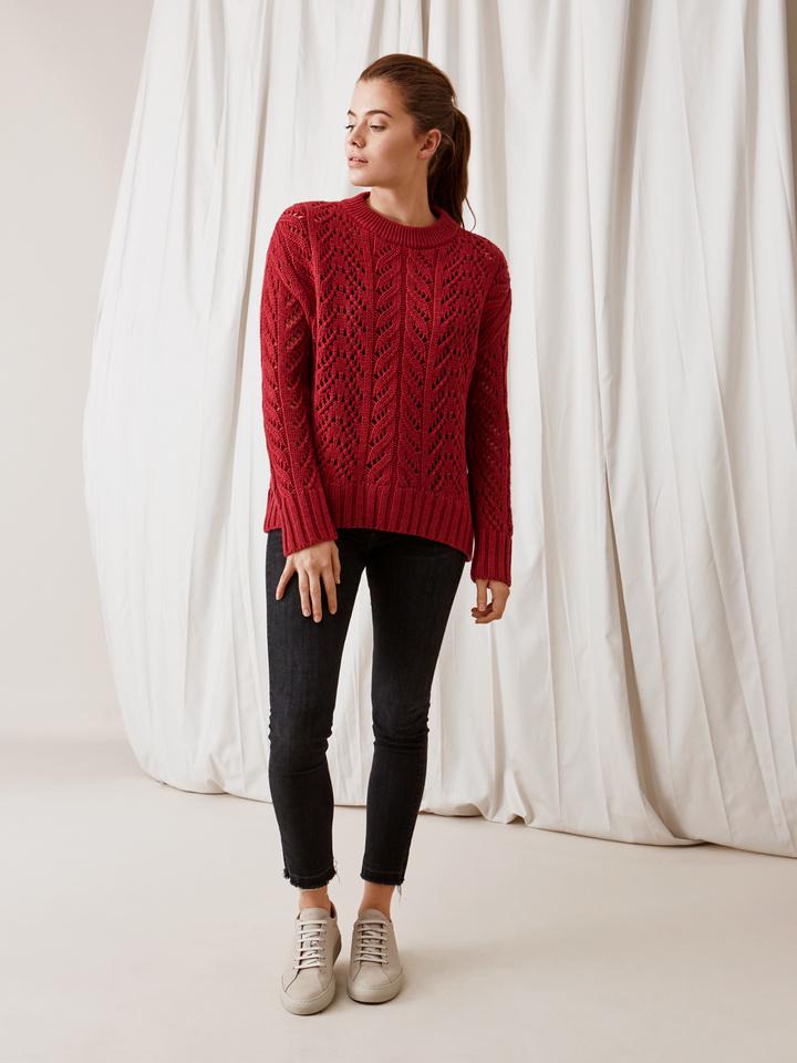 Soft Goat Eyelet Sweater Pomegranate