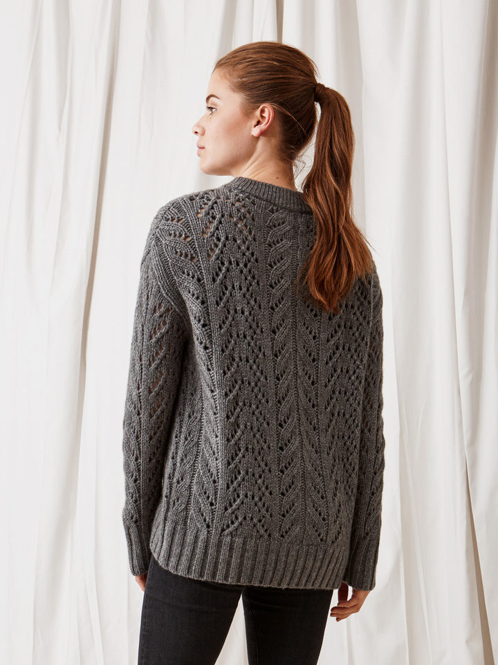 Soft Goat Eyelet Sweater Dark Grey