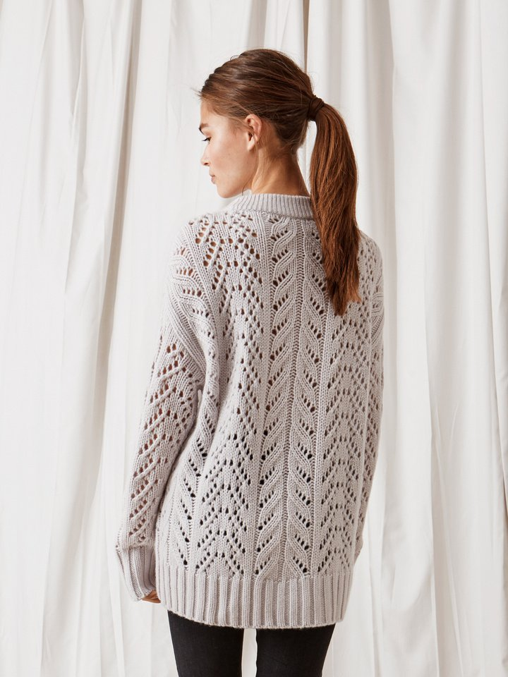 Soft Goat Eyelet Sweater Silver Grey