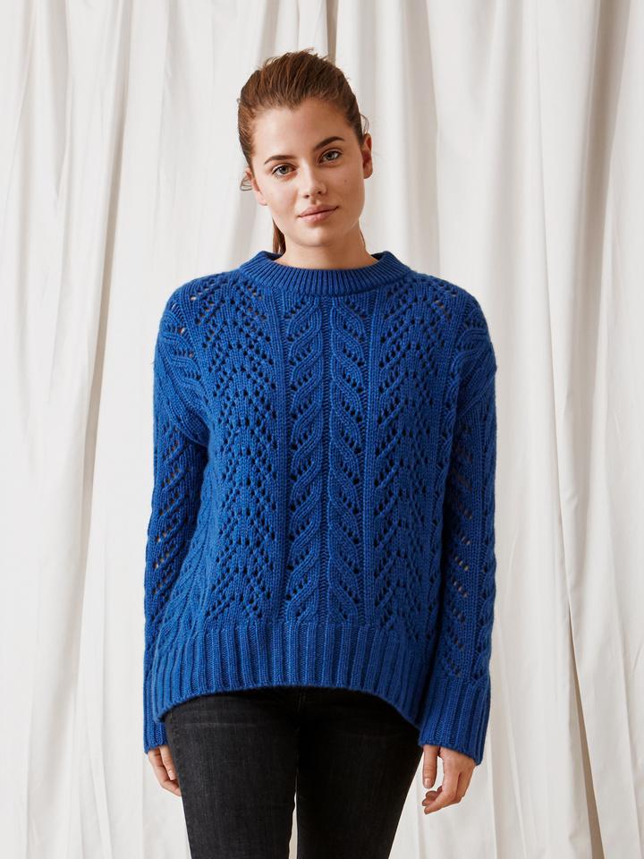 Soft Goat Eyelet Sweater Royal Blue