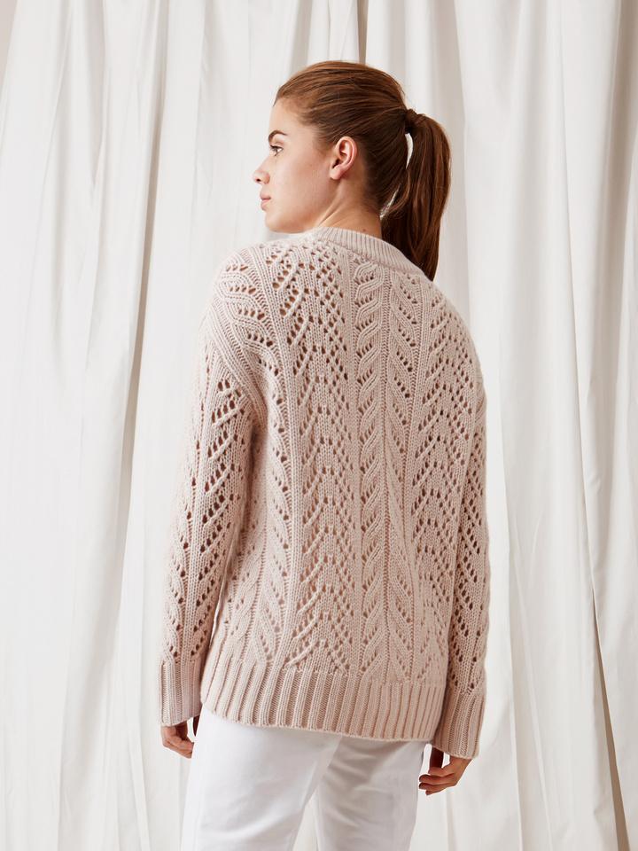 Soft Goat Eyelet Sweater Powder Pink