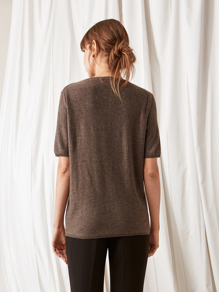 Soft Goat Fine Knit T-Shirt Mocca