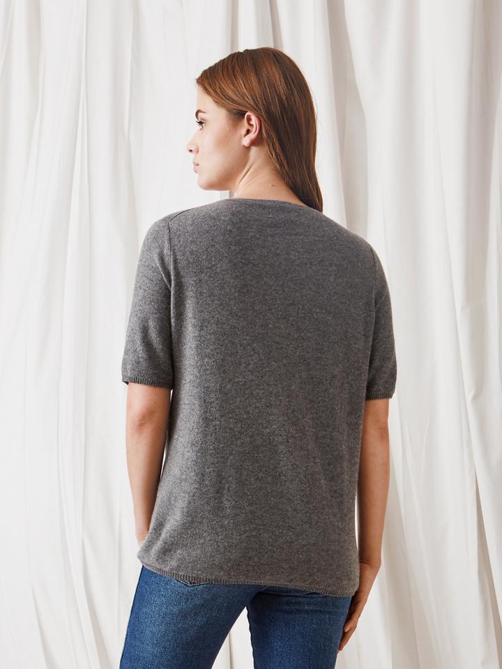 Soft Goat Fine Knit T-Shirt Dark Grey