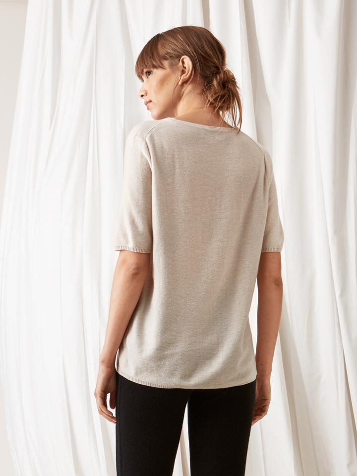 Soft Goat Fine Knit T-Shirt Beige