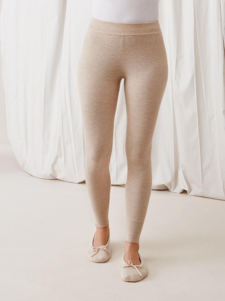 Soft Goat Women's Fine Knit Tights Beige