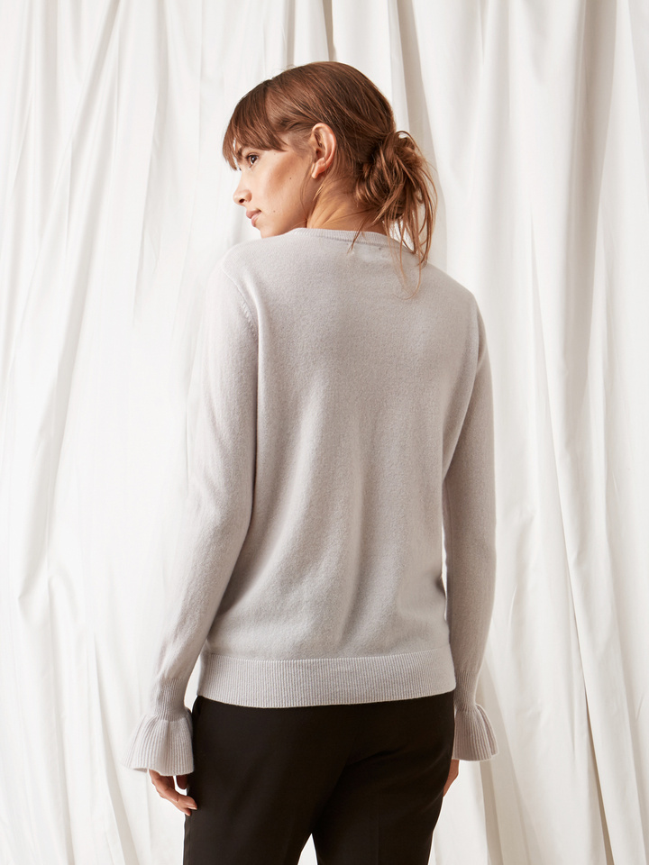 Soft Goat Frill Sweater Silver Grey