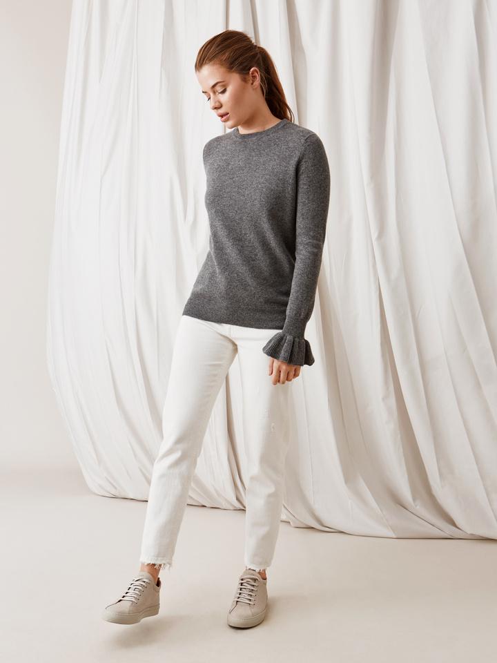 Soft Goat Frill Sweater Dark Grey