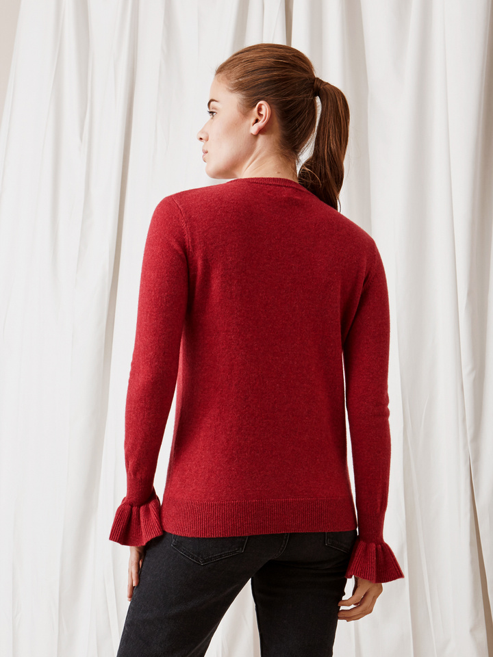 Soft Goat Frill Sweater Pomegranate