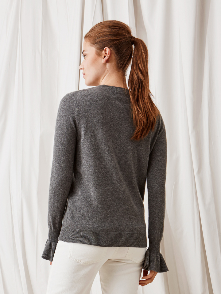 Soft Goat Frill Sweater Dark Grey