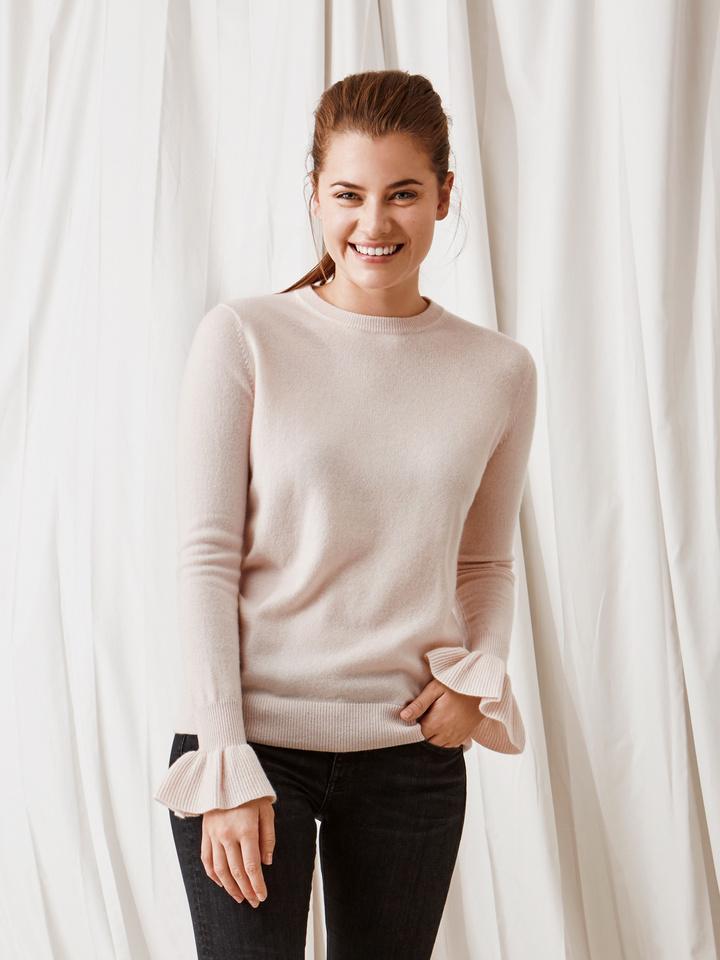 Soft Goat Frill Sweater Powder Pink