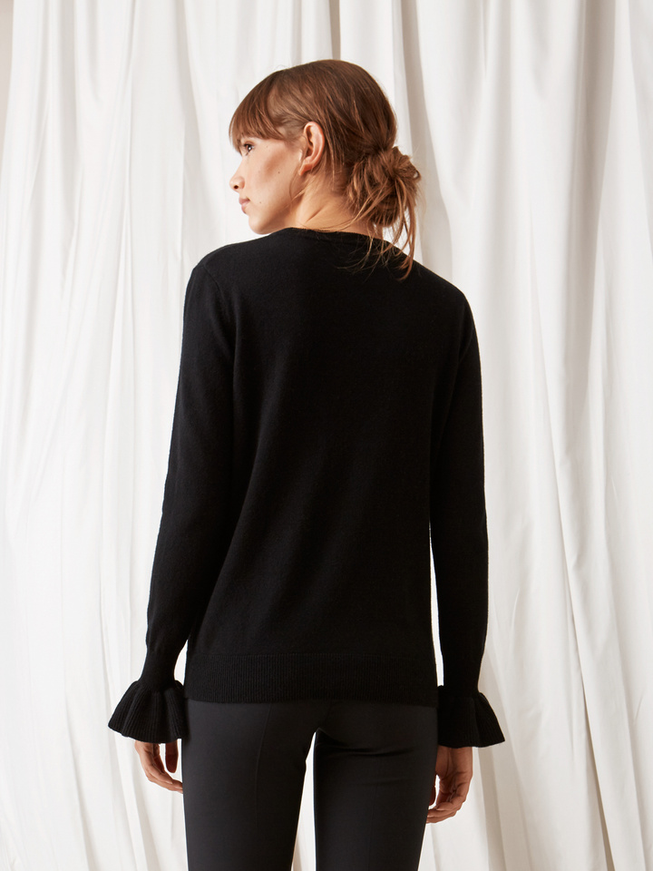 Soft Goat Frill Sweater Black