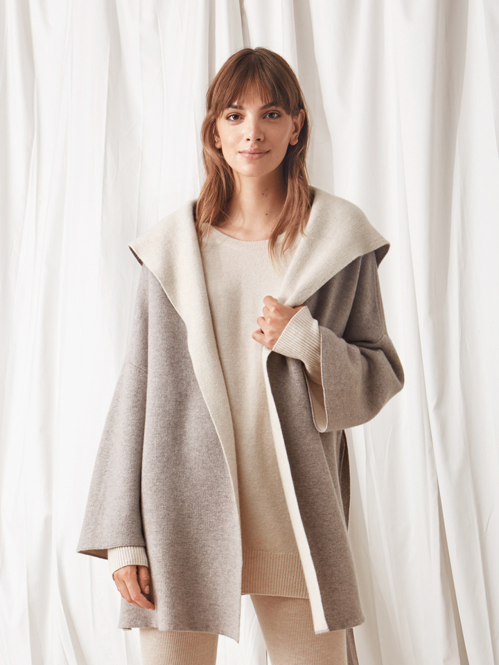 Soft Goat Hooded Jacket Light Taupe/beige