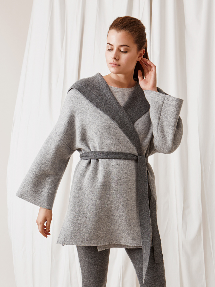 Soft Goat Hooded Jacket Grey/dark Grey