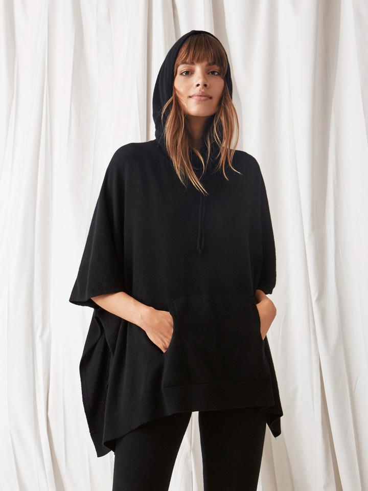Soft Goat Hooded Poncho Black