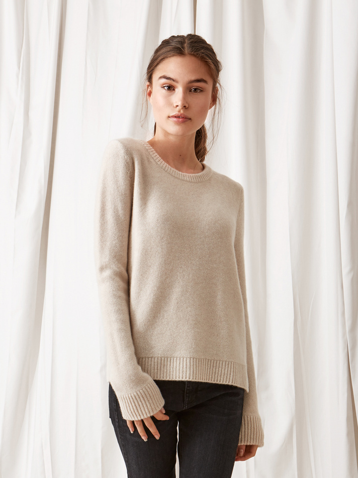 Soft Goat Inside Out Stitch Sweater Beige