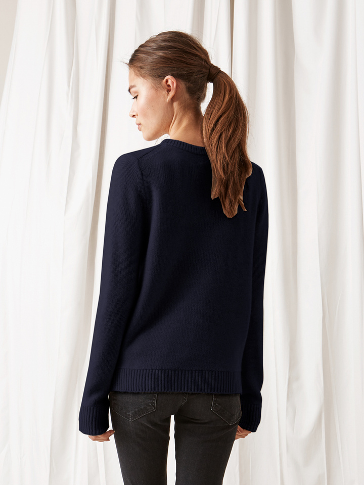 Soft Goat Inside Out Stitch Sweater Navy