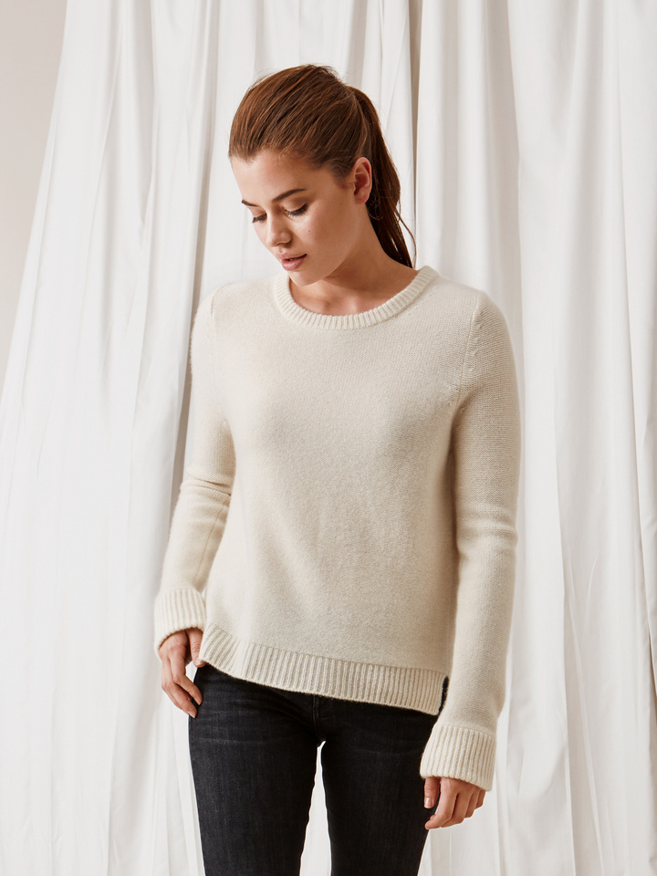 Soft Goat Inside Out Stitch Sweater Off White